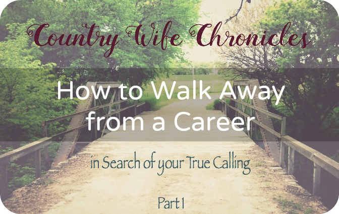 Walk Away from a Career in search of your True Calling at Country Wife Chronicles