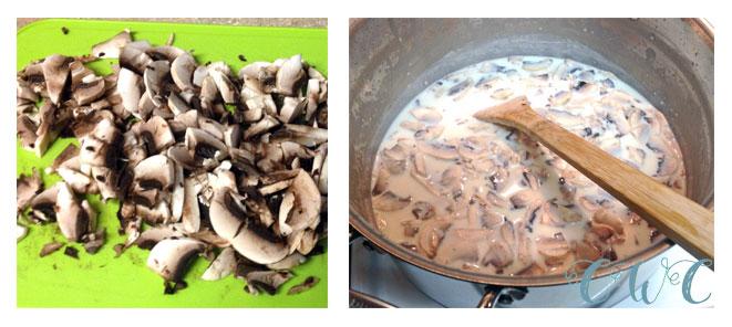 chicken rigatoni casserole mushrooms collage