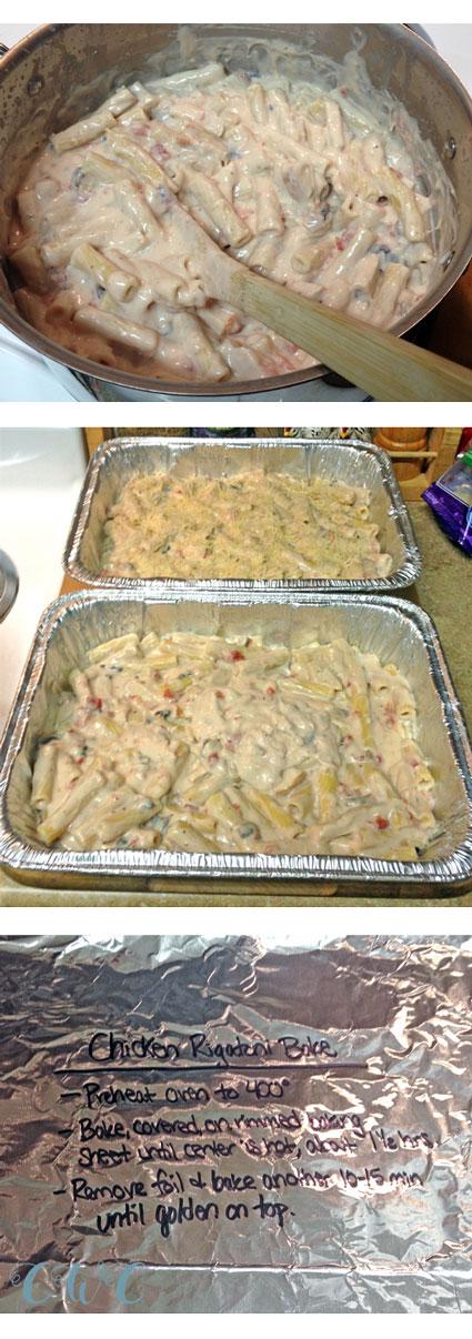 finished chicken rigatoni casserole collage