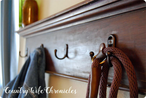 DIY finished coat rack close up of lead on hook