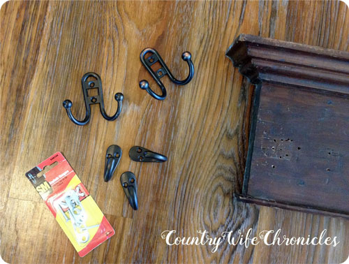 DIY coat rack parts and pieces close up