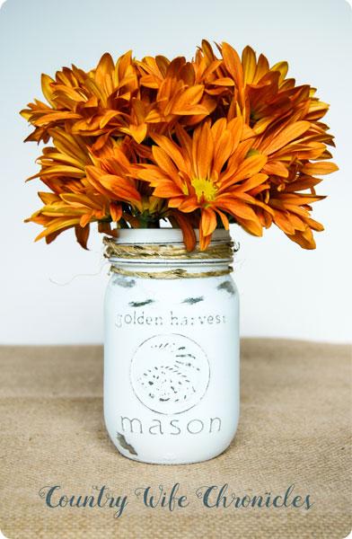 Mason jar vase for fall flowers