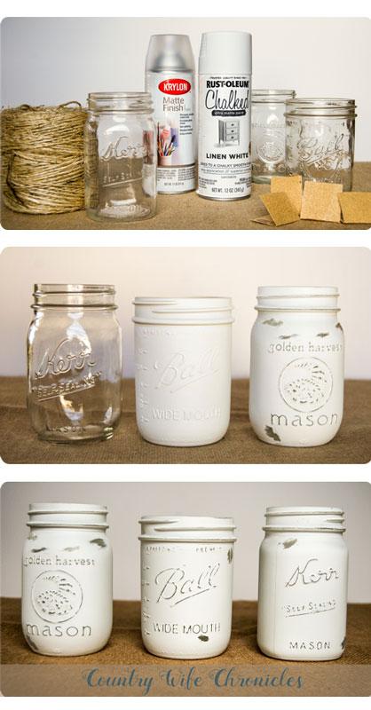 Mason jar painting and distressing collage