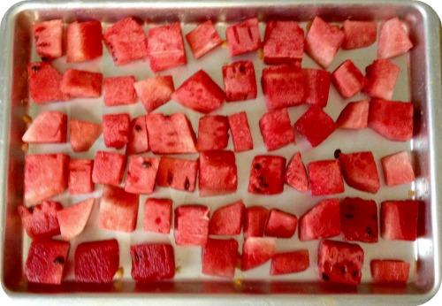 Frozen Watermelon on Baking Sheet