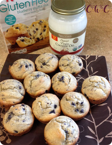 gf blueberry muffins on plate