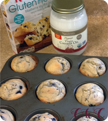 gf blueberry muffins done in tin