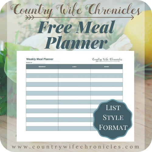 Free Meal Planner Graphic-List Style Format