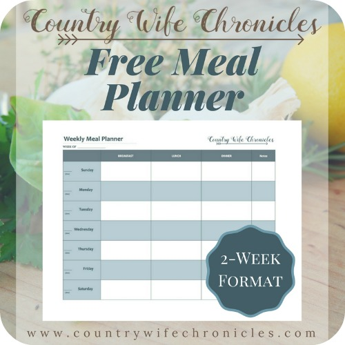 Free Meal Planner Graphic-2 Week Format