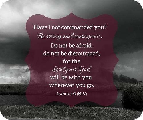 Joshua 1:9 Bible Verse on Black & White Background