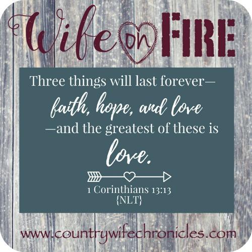 Wife on Fire Challenge 1 Corinthians 13:13 on Barnwood